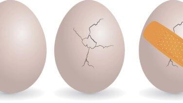 egg, broken egg, bandaged egg